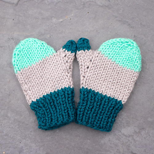 Flat Knit Kids Mittens