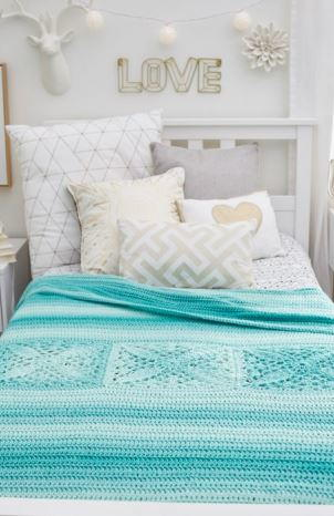 Sky Blue Crochet Bed Throw