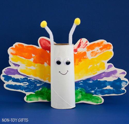 Rainbow Butterfly Toilet Roll Craft Allfreeholidaycrafts Com