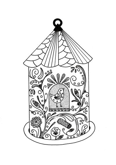 Whimsical Bird House Adult Coloring Page