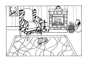 Cozy-in-Here Adult Coloring Page