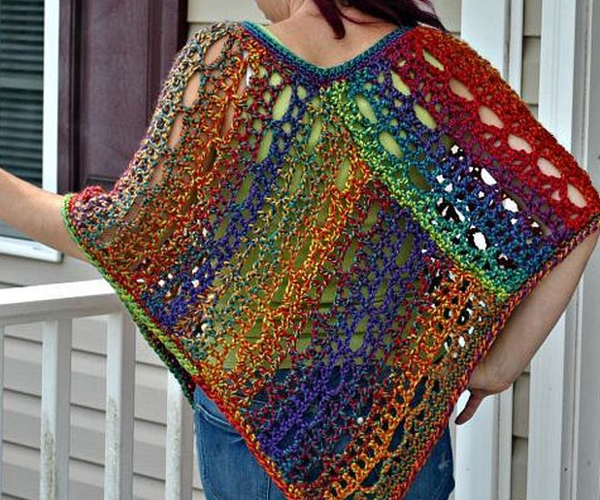 Rainbow Lace Crochet Poncho
