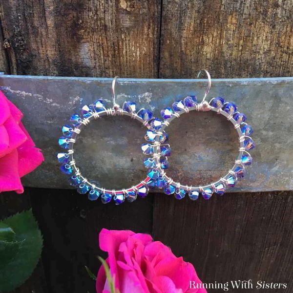 Special Occasion Tanzanite Crystal Wrapped Hoops