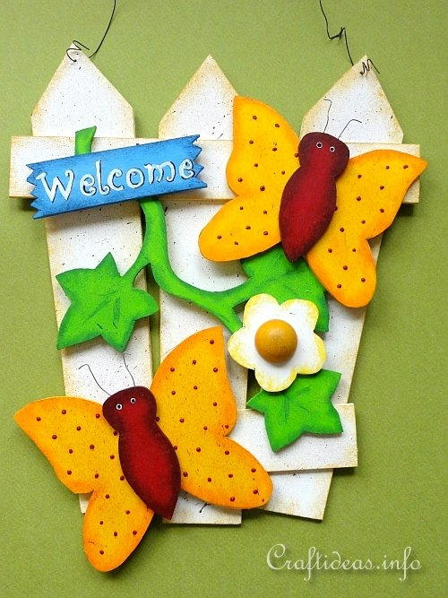 Wooden Butterfly Welcome Sign