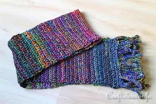 Stash Busting Crochet Scarf of Many Colors