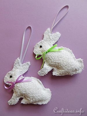 Washcloth Easter Bunny Ornaments