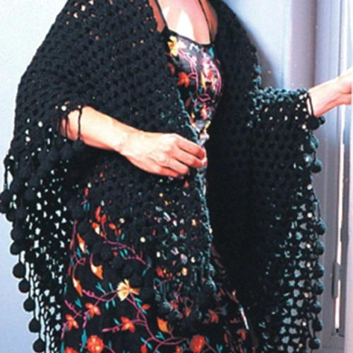 A Black Mesh Shawl