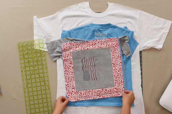 Image shows shirt blocks with fabric borders.