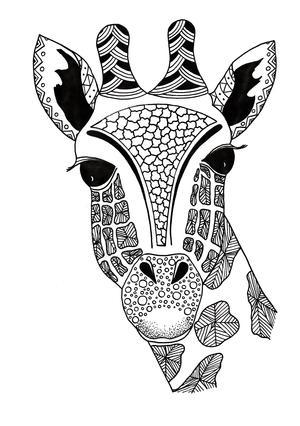 Giraffe Zentangle Coloring Page | FaveCrafts.com