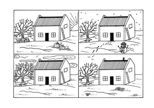 Four Seasons Country Cottage Coloring Page