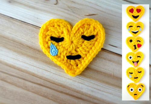 Crochet Emoji Valentines – Crying Face