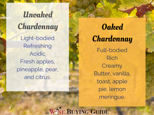 Oaked vs unoaked Chardonnay
