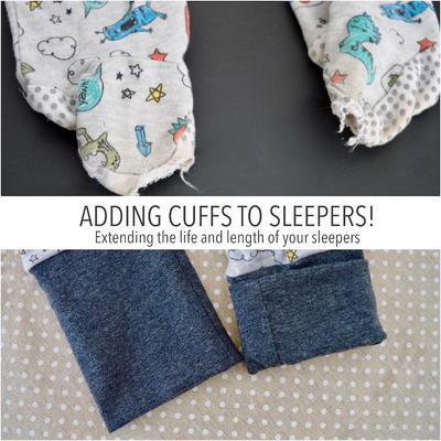 Adding Cuffs to Worn Out Baby Sleepers!