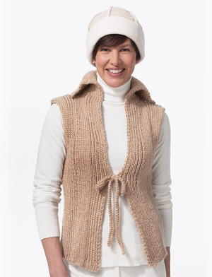 Tie Front Knit Vest Free Pattern