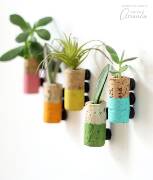 DIY Wine Cork Succulent Magnets
