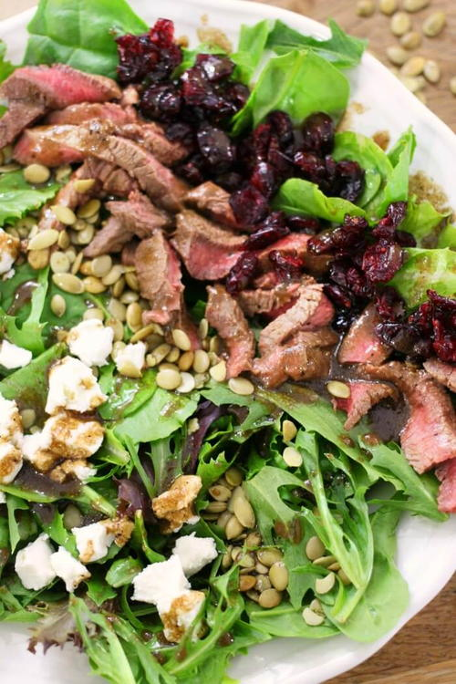 Cranberry Goat Cheese Steak Salad