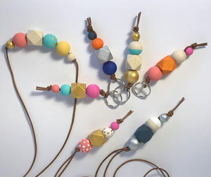 Wooden Bead Keychains