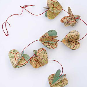 Gorgeous Vintage Map Heart Garland