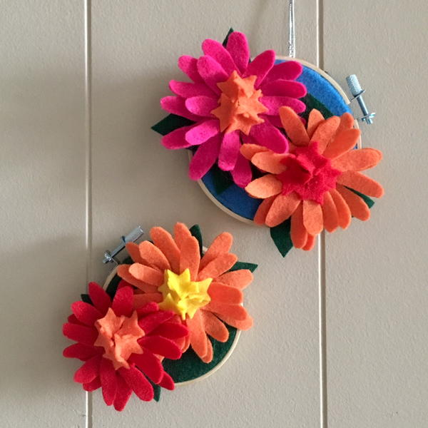 Zinnia Felt Flower Embroidery Hoop Art