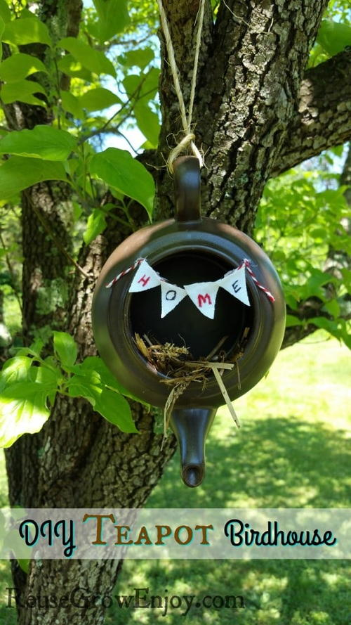 Upcycled Teapot Birdhouse