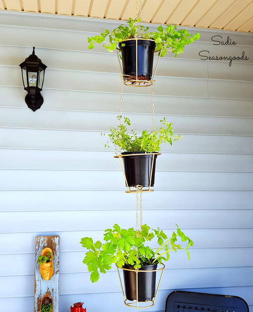 Upcycled Lampshade Hanging Baskets
