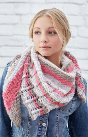 Stylish Lacy Stripes Knit Shawl