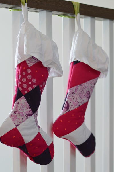 Quilted Christmas Stockings from Baby Clothes
