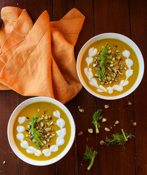 Carrot and Fennel Soup with Pistachios