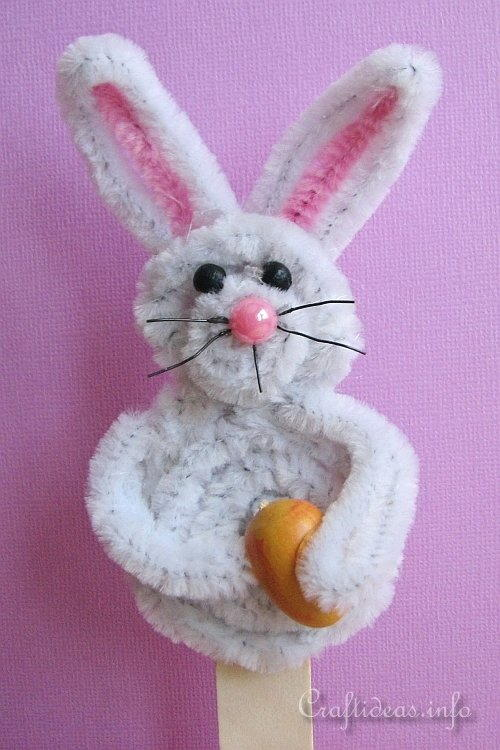 Chenille Easter Bunny Stick