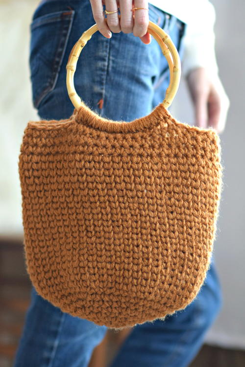Camel Crocheted Bucket Bag