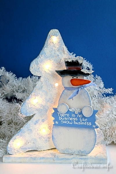 Lighted Wooden Snowman Decoration