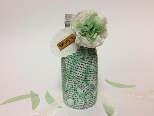 Recycled Book Page Bud Vase