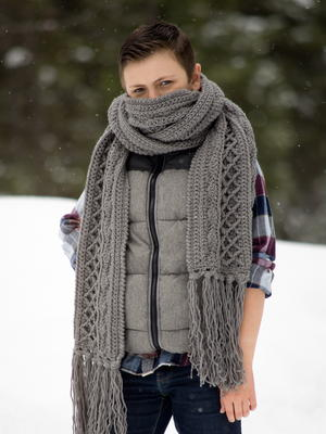 Snow Country Super Scarf, Unisex Crochet Pattern