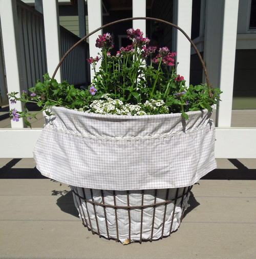 Rustic Wire Basket Flower Container