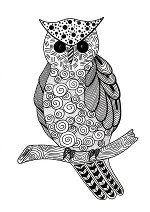 Zentangle Owl Adult Coloring Page Favecrafts Com