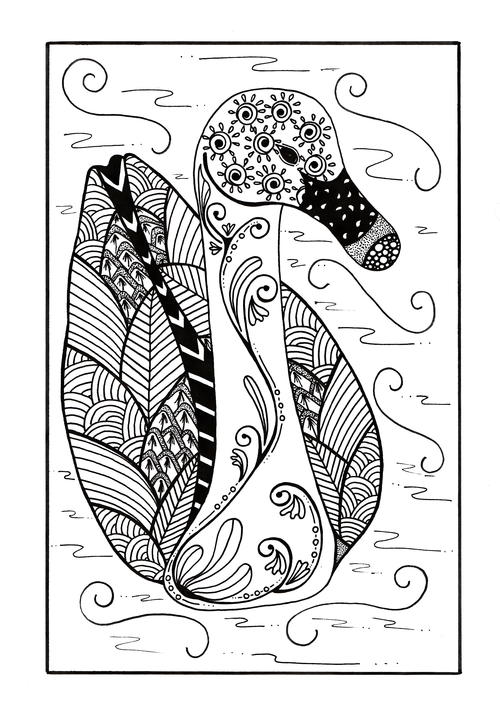 Delicate Zentangle Duck Coloring Page