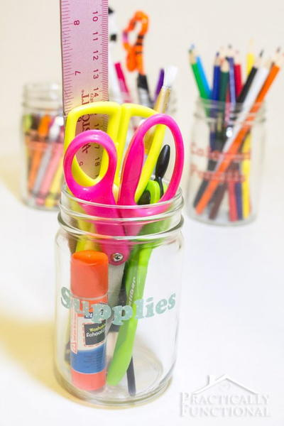 Mason Jar School Supply Organizer