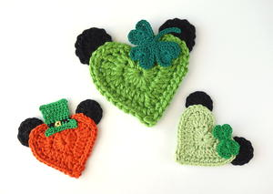 St Patrick's Day Mickey and Minnie Heart Appliques