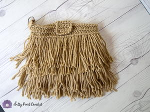 Fringed Crochet Clutch Purse