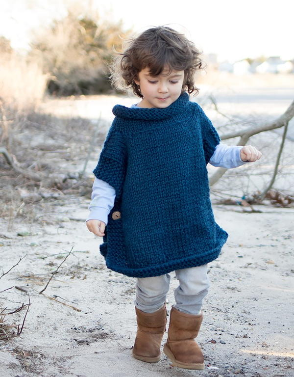 Petrol Blue Kid's Poncho Knitting Pattern