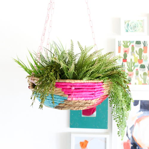 DIY Colorful Hanging Basket Planter