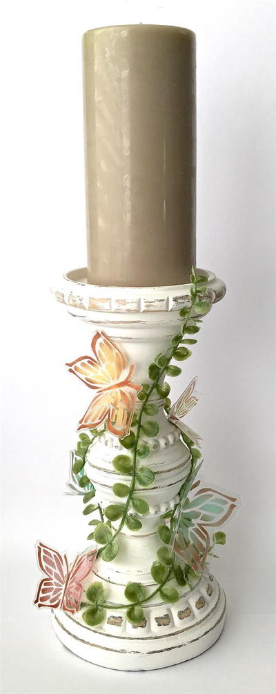 Painted Butterflies Candle Pillar