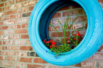 Colorful Tire Wall Planter
