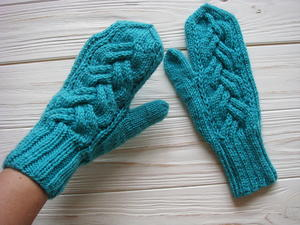 Teal Ocean Cable Mittens