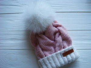 Pink Marshmallow Cable Knit Hat