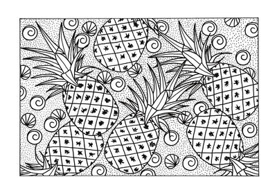 Abundance of Pineapples Adult Coloring Page