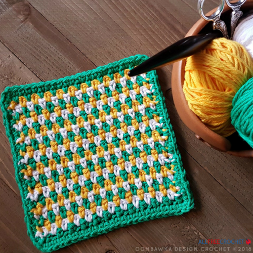 Seed Stitch Crochet Dishcloth Free Pattern