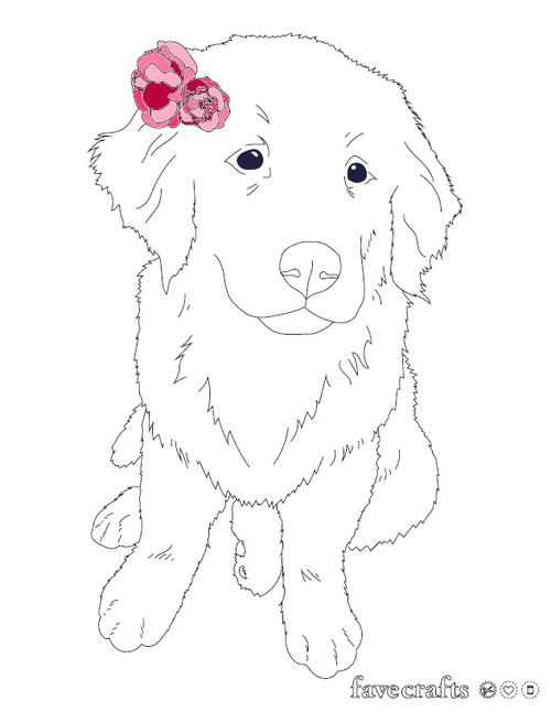 Flower Puppy Coloring Page