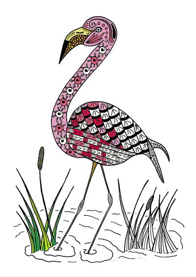 Graceful Flamingo Adult Coloring Page