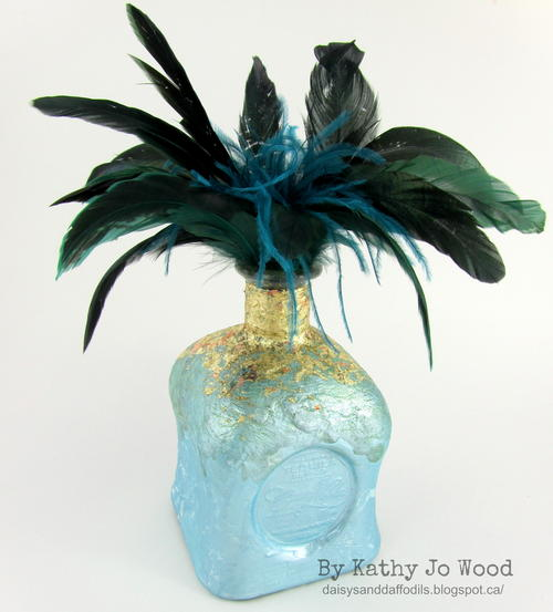 Feathers and Gold Upcycled Bottle